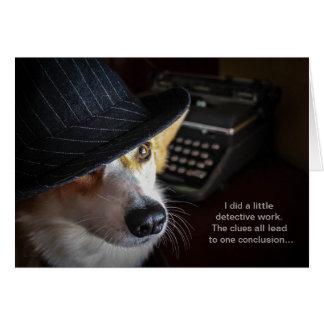 Cartão de aniversário do Corgi do detetive