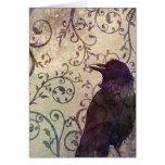 Cartão de aniversário do corvo da aguarela e da ti