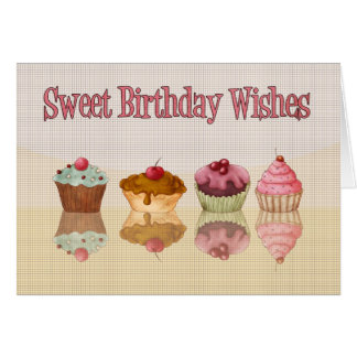 Cartão de aniversário do cupcake - desejos doces