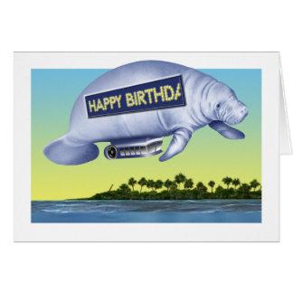 Cartão de aniversário do dirigível do peixe-boi