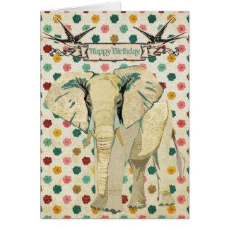 Cartão de aniversário do elefante branco