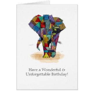 Cartão de aniversário do elefante do mosaico