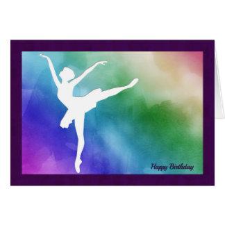 Cartão de aniversário do entalhe da bailarina da