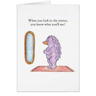 Cartão de aniversário do espelho do ouriço