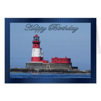 Cartão de aniversário do farol, opinião do mar