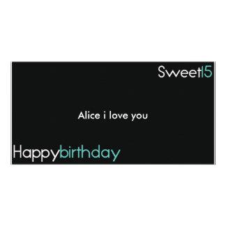 Cartão de aniversário do feliz aniversario sweet15 cartão com foto