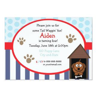 cartão de aniversário do filhote de cachorro do convite personalizado