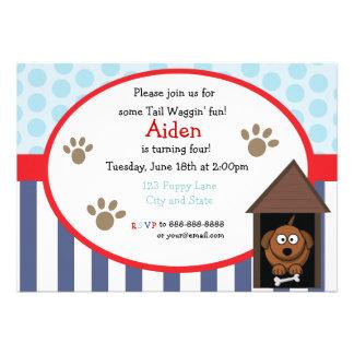cartão de aniversário do filhote de cachorro do di convite personalizado