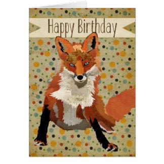Cartão de aniversário do Fox vermelho
