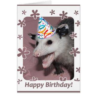 Cartão de aniversário do gambá