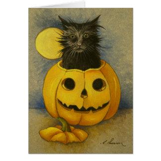 Cartão de aniversário do gatinho da magia negra