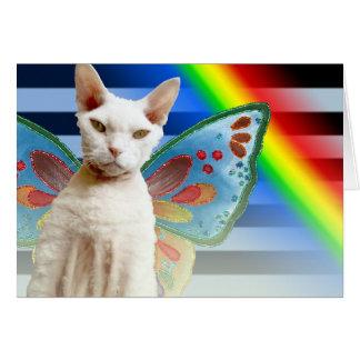 Cartão de aniversário do gato da fada | Devon Rex