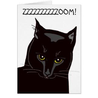 Cartão de aniversário do gato preto