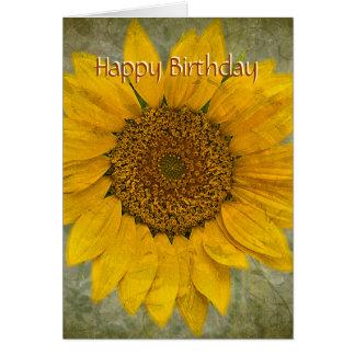 Cartão de aniversário do girassol do vintage