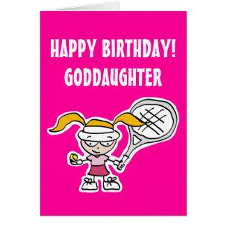 Cartão de aniversário do Goddaughter com a menina