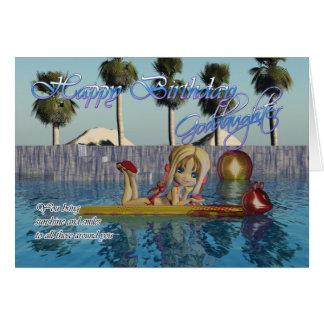 Cartão de aniversário do Goddaughter, piscina da