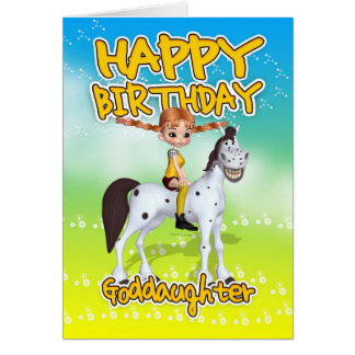Cartão de aniversário do Goddaughter - torta