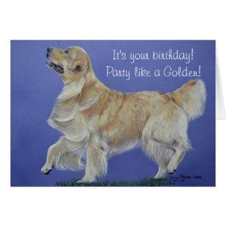 Cartão de aniversário do golden retriever