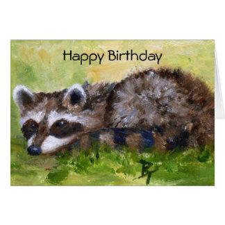 Cartão de aniversário do guaxinim do aceo do