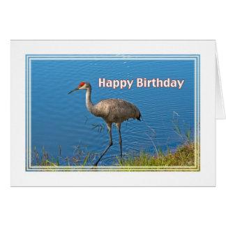 Cartão de aniversário do guindaste de Sandhill