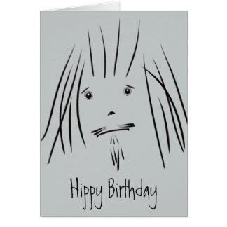 Cartão de aniversário do hippy da cara do hippy