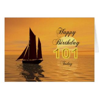 Cartão de aniversário do iate do por do sol 101st