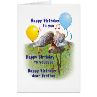 Cartão de aniversário do irmão com o pássaro do