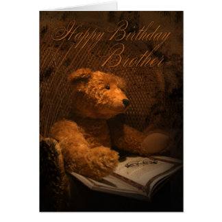Cartão de aniversário do irmão com urso de ursinho