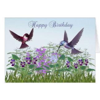 Cartão de aniversário do jardim do colibri