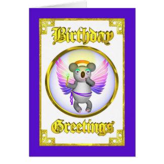 Cartão de aniversário do Koala do anjo
