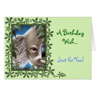 Cartão de aniversário do Koala dos objetos antigos