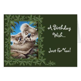 Cartão de aniversário do Koala e do bebê