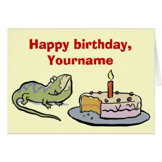 cartão de aniversário do lagarto