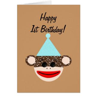 Cartão de aniversário do macaco da peúga