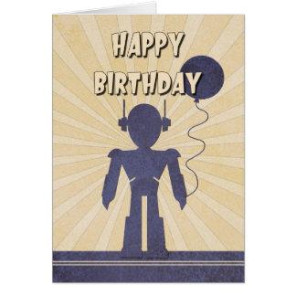 Cartão de aniversário do menino do robô