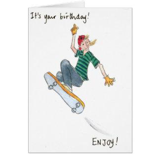 cartão de aniversário do menino do Skate-embarque