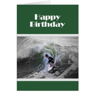 Cartão de aniversário do menino do surfista