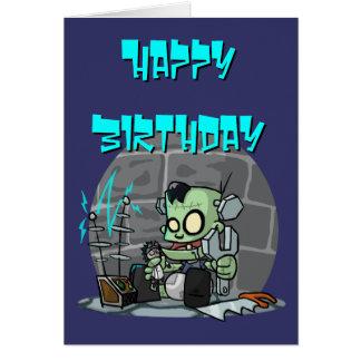 Cartão de aniversário do monstro do bebê