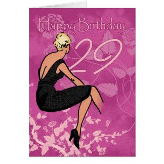 Cartão de aniversário do na moda 29o - fêmea