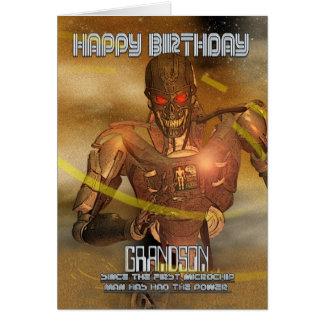 Cartão de aniversário do neto com Cyborg - robô