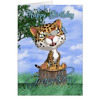 Cartão de aniversário do neto com Jaguar bonito e