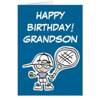 Cartão de aniversário do neto com pouco menino do