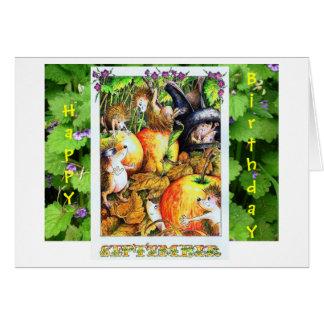 Cartão de aniversário do ouriço