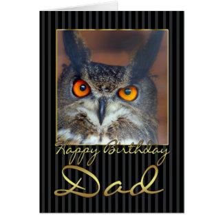 Cartão de aniversário do pai com coruja de Eagle