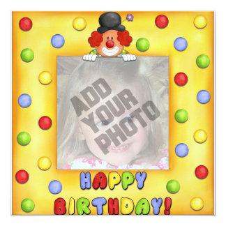 Cartão de aniversário do palhaço da foto convite quadrado 13.35 x 13.35cm
