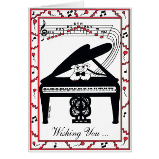 Cartão de aniversário do piano de cauda