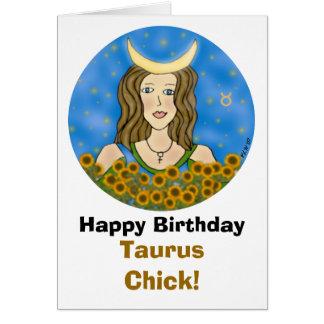 Cartão de aniversário do pintinho do Taurus