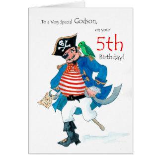 Cartão de aniversário do pirata do divertimento 5o