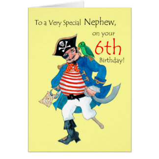 Cartão de aniversário do pirata do divertimento 6o