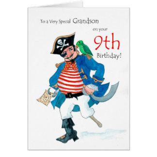 Cartão de aniversário do pirata do divertimento 9o